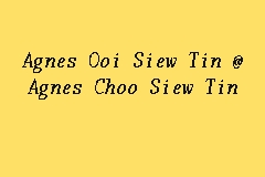 Agnes Ooi Siew Tin @ Agnes Choo Siew Tin business logo picture